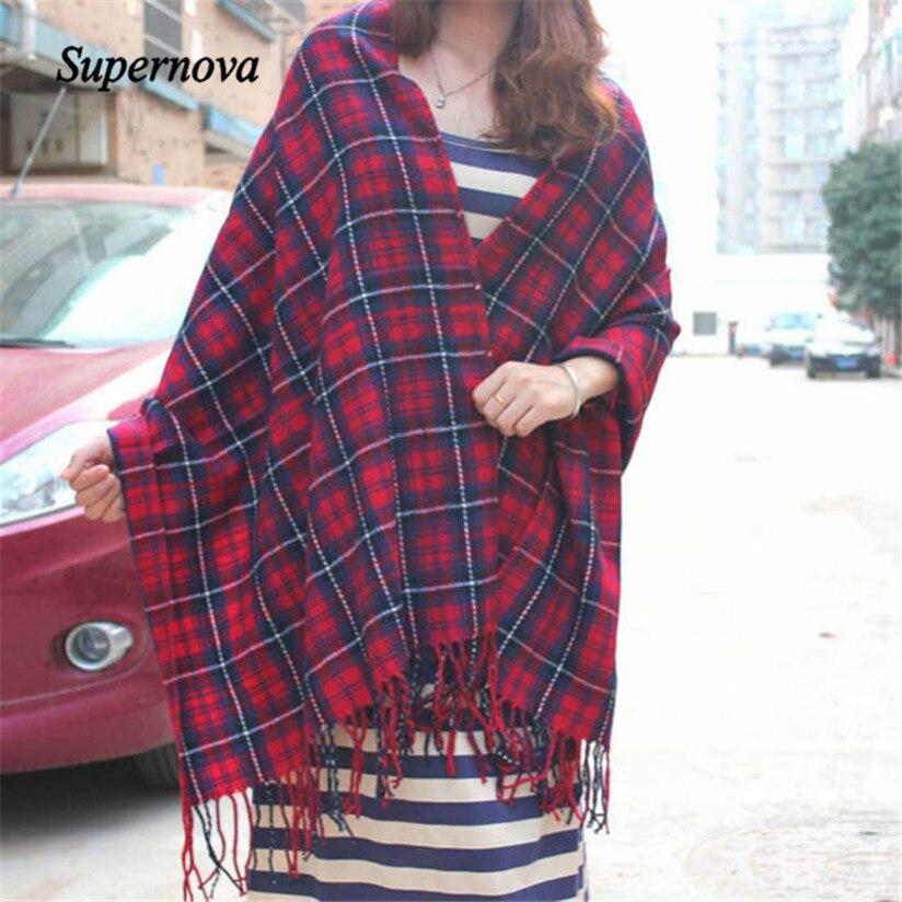 Hot Autumn Winter Oversized Blanket font b Tartan b font Shawl Scarf Warm Shawl Plaid Cashmere