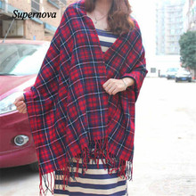 Hot Autumn Winter Oversized Blanket Tartan Shawl Scarf Warm Shawl Plaid Cashmere Imitation Scarf women foulard twilly WAug3