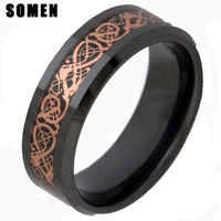 High Quality 8MM Ceramic Ring Men Gold Celtic Gragon Wedding Band Engagement Rings For Women