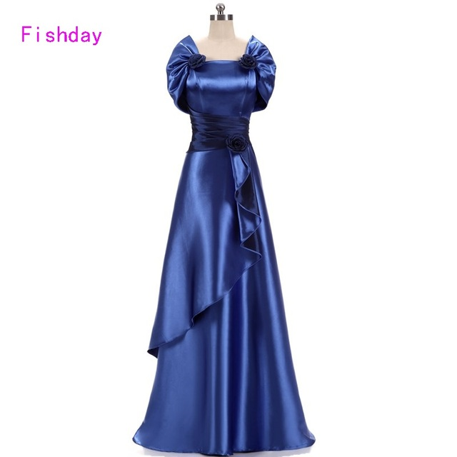 US $54.71 10% OFF|Fishday Evening Dress Satin Gold Royal Blue Long Plus  Size Elegant Formal Party Gowns for Women Mother of Bride With Jacket  B45-in ...