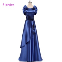 Günstige Satin Gold Royal Blue Abendkleider Lang Plus Größe Elegante formale Partei-kleider für Frauen Mutter der Braut Mit Jacke B45