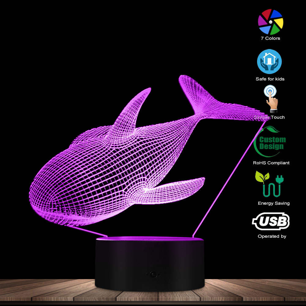 Whale Shape Colorful 3D Optical Illusion LED Light Acrylic Visual Perspective Fashion Modeling Novelty Indoor Decor Night Light