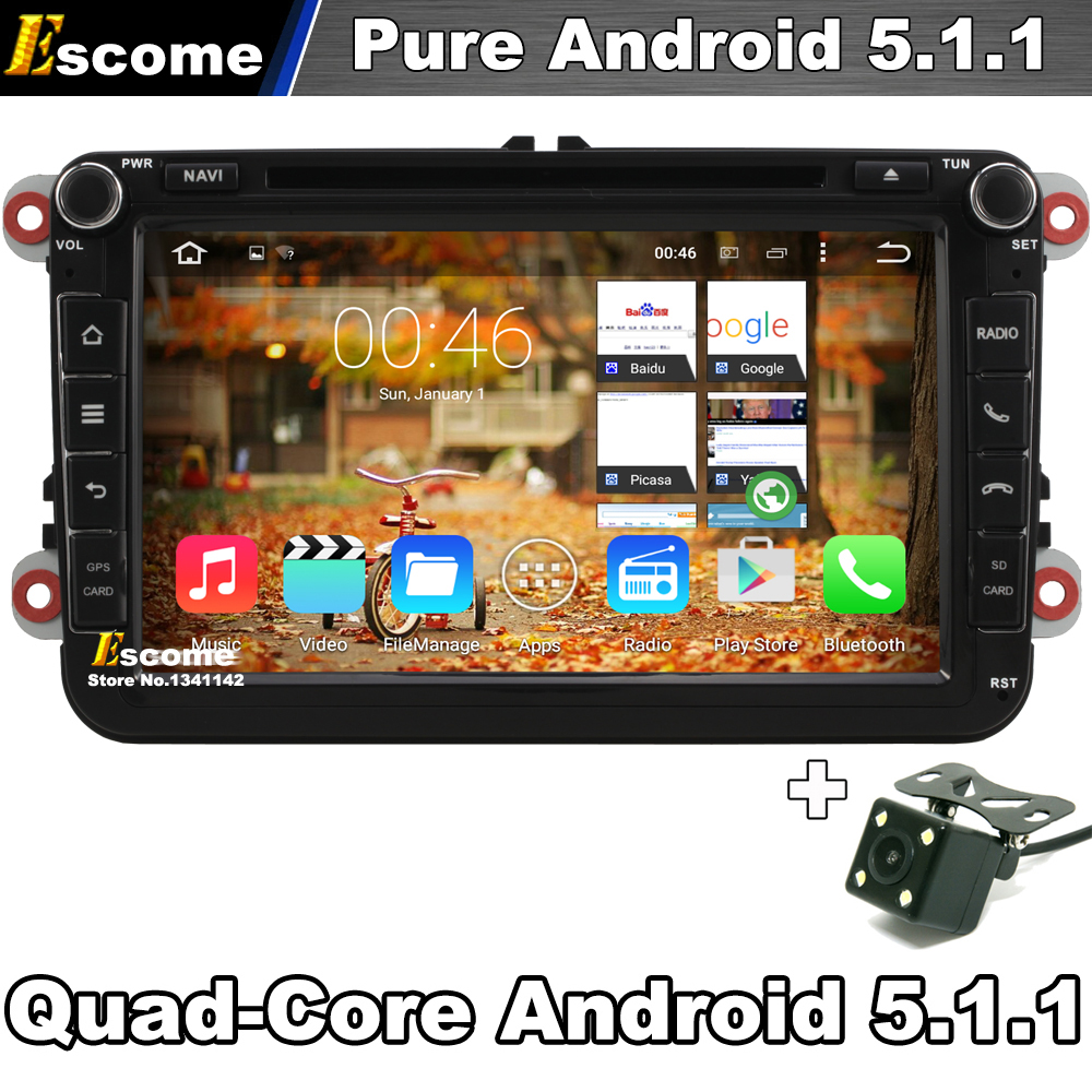 Quad Core Pure Android 5.1 Car DVD GPS For Skoda Octavia Fabia Roomster Yeti Superb Seat Leon Toledo Altea With Camera GPS