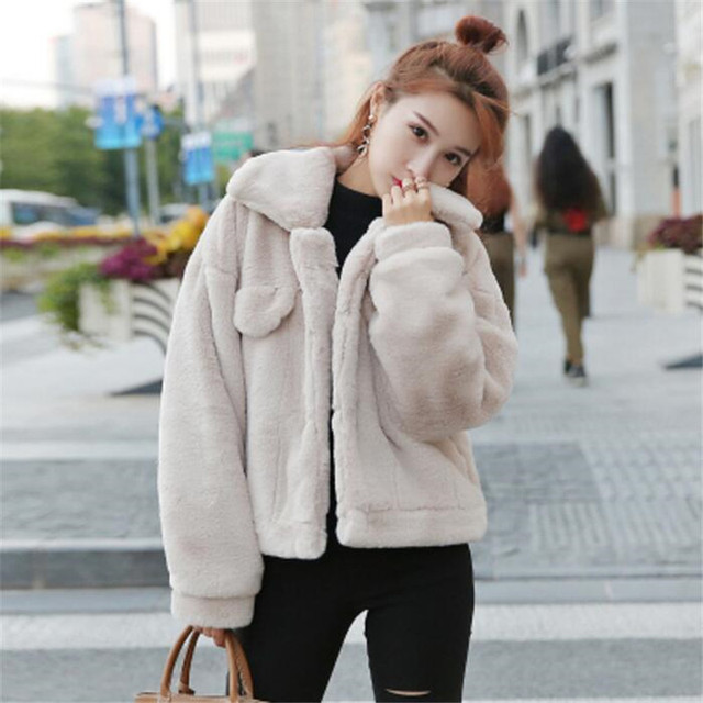 9e5a1d714c New Faux Fur Coat Women Autumn Warm Fur Jacket Female Fashion Thin Fit  Thick Outerwear Single Breasted Plus Size XL A5053