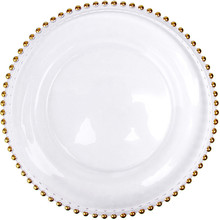 1pc 8/10/13 inch gold inlay charger plates round glass dessert dishes dinner sets for wedding party serving decor