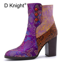 Retro Printed Genuine Leather Winter Autumn Boots Women Embroider Shoes Vintage Women High Heels Ankle Boots Plus EUR Size 36-42 недорого
