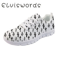 Women's Casual Shoes Cactus Printed Cute Small Fresh Fashion Lace up Ladies Sports Lightweight Flat Shoes Students Nurse Shoes