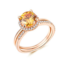 Huitan Popular Solitaire Wedding Ring Clear Champagne CZ Stone Double Band Elegant Women Adorable Jewelry Hot Selling