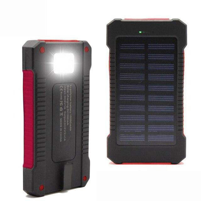 Новый Водонепроницаемый Реального 10000 мАч solar power bank dual usb внешняя батарея солнечное зарядное устройство powerbank для iphone HTC