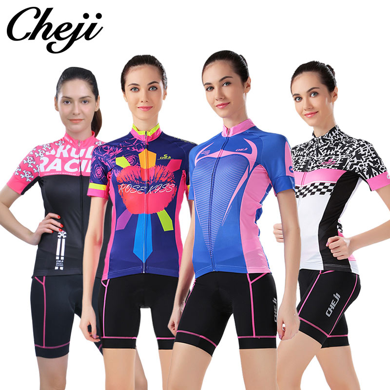 Cheji Pro Cycling Jersey Short Sets for women  Bicycle tops summer lightweight breathable Riding gear mtb and road Bike Clothing cheji men original camouflage green cycling jersey mtb outdoor breathable bike short sleeve clothing bicycle jersey s 3xl