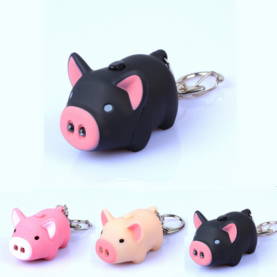 New Super Bright Lovely Pig Key Chain Animal With LED Light Hot Sound lovely pig style white light 2 led keychain w sound effect beige deep pink 3 x ag13