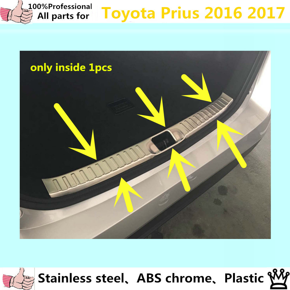 Car body styling cover Stainless Steel Inner built Rear Bumper trim plate lamp pedal moulding 1pcs for Toyota Prius 2016 2017 car styling cover detector stainless steel inner built rear bumper protector trim plate pedal 1pcs for su6aru outback 2015
