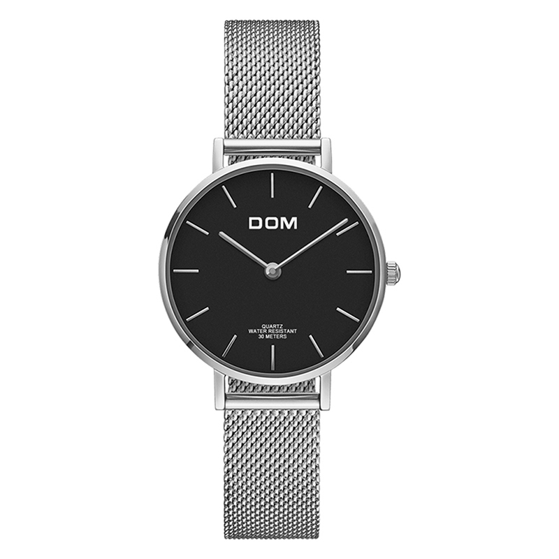 DOM Women Watches Gold Mesh Stainless Steel Watch Women Top Brand Luxury Casual Clock Ladies Wrist Watch Relogio Feminino