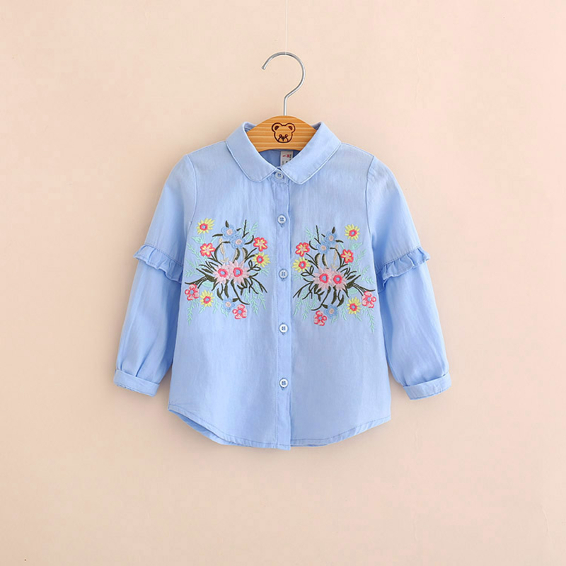 IMMDOS Girls 2018 Spring Cotton Blouses Kids Embroidery Floral Shirts Children Princess Fashion Party Blusas Baby Cute Clothing