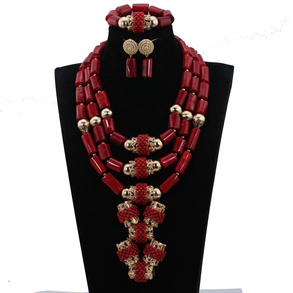 Fabuleux vin rouge corail perles de mariage africaines ensemble de bijoux Original traditionnel africain nigérian corail collier de perles ensemble CNR833