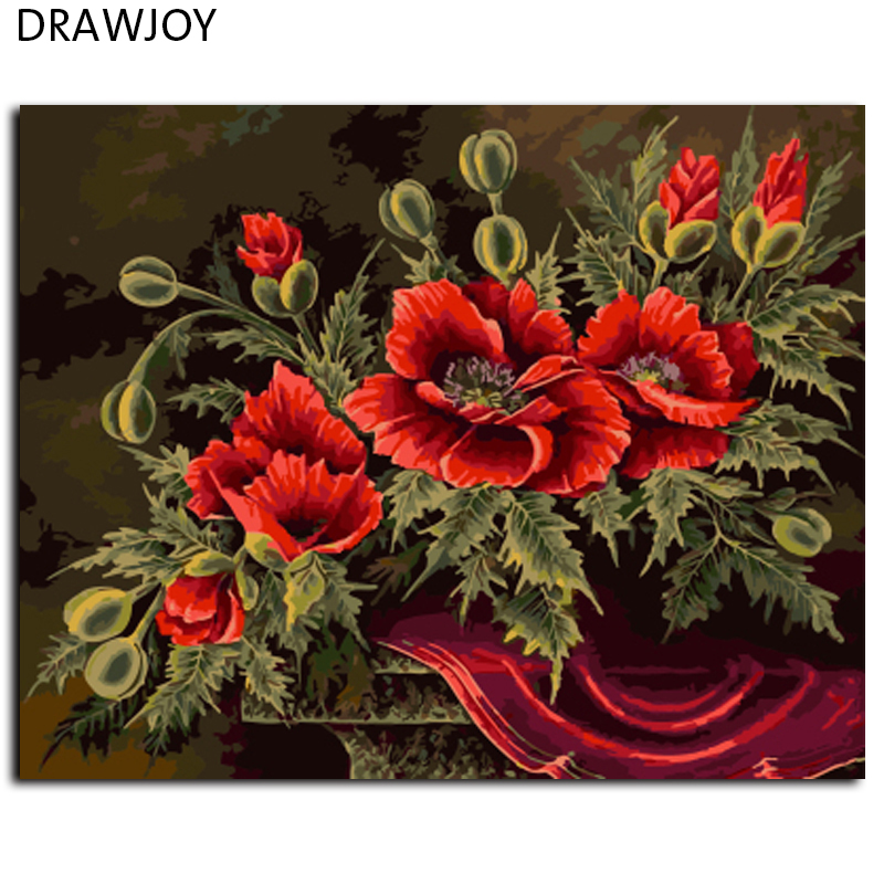 √Flor no Marcos cuadros pintura por números DIY digital lienzo ...