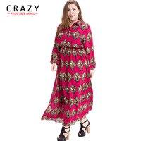 Crazy Plus Size Mall Long Spring Summer Dress L 7XL 2019 New Plus Size Chiffon Dress For Ladies Vintage Print Dress 6XL 5XL 4XL