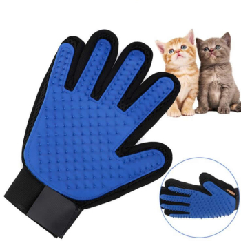 Gentle and Efficient Five Finger Pet Grooming Gloves with 180 Soft Silicone tips for Grooming and Cleaning of Dogs and Cats Hair