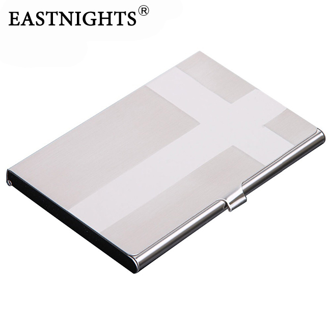 Eastnights 10pcslot metal name card case stainless steel business eastnights 10pcslot metal name card case stainless steel business card holder cross pattern promotion can laser logo nms008 in card id holders from colourmoves