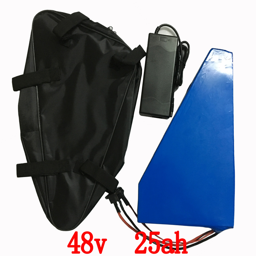 48V 2000w Triangle battery 48v 25ah Lithium ion battery pack 48v 25ah electric bicycle battery with 50A BMS+54.6V charger+ bag