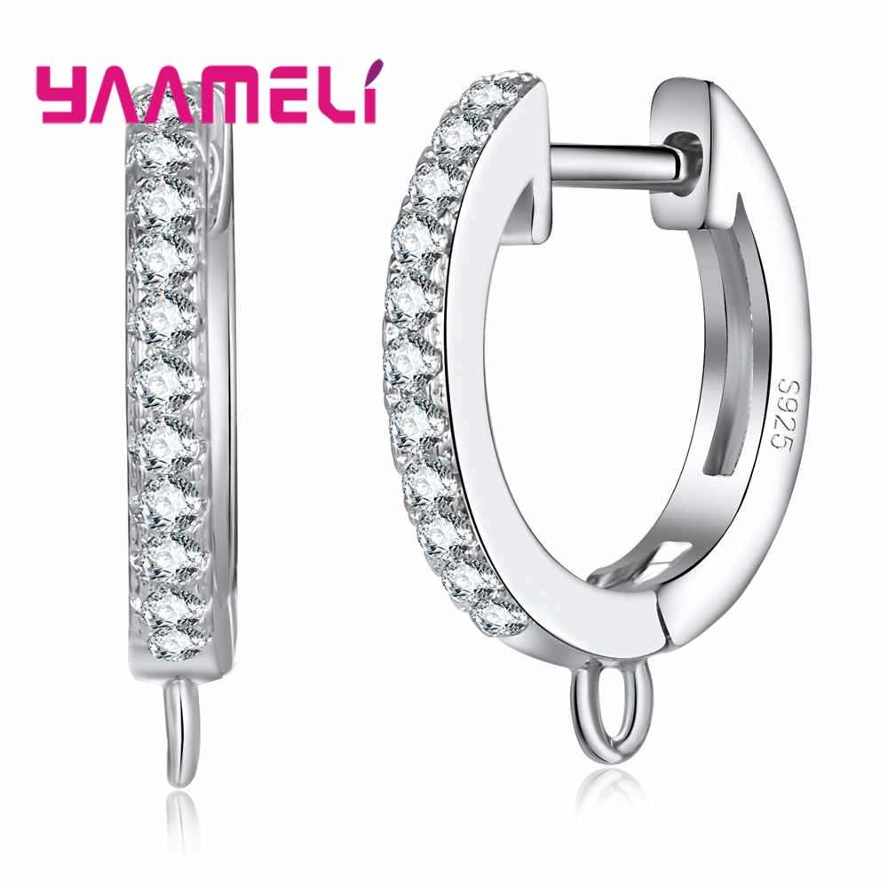 High-End Findings For DIY Women Hoop Earring Jewelry Making 925 Sterling Silver Accessories Component With Clear Zircons