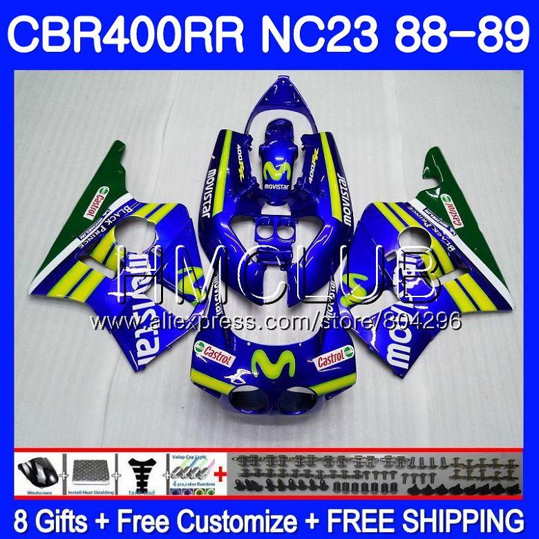 NC23 Pour HONDA CBR 400RR 400 RR CBR400 RR 88 89 90 91 92 93 Movistar Bleu 89HM16 CBR400RR 1988 1989 1990 1991 1992 1993 Carénages