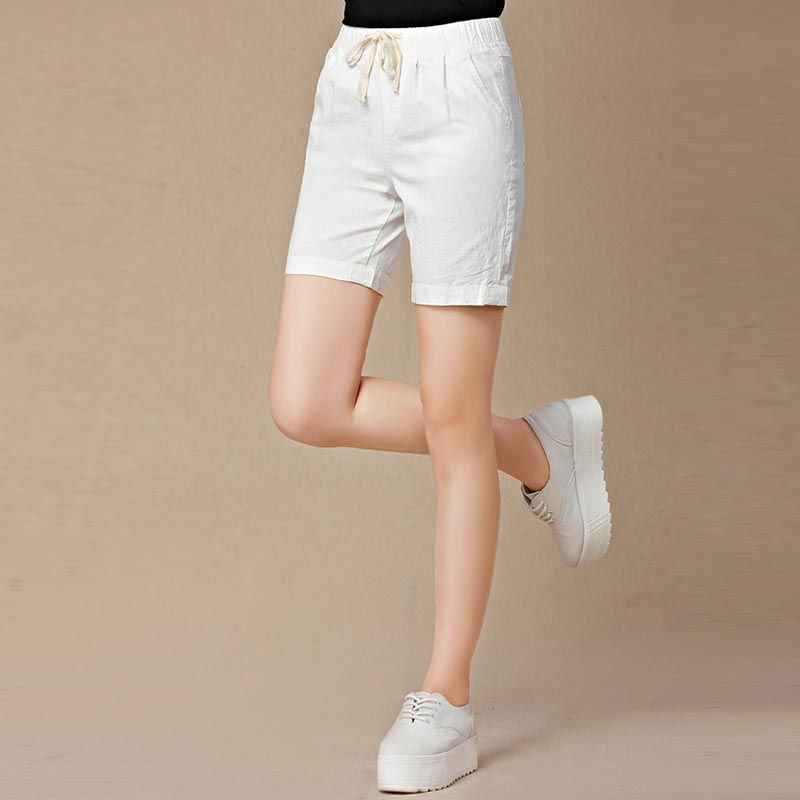 66f5f176856 New 2018 Summer shorts women high waist Fashion Pleated Loose solid cotton  linen feminino short for women candy color shortsXXXL-in Shorts from Women s  ...