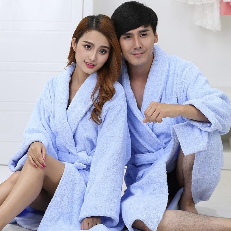 Men Bath Robe Kimono Robe Thick Long Soft Cotton Men's Robe Bathrobe Nightgown Spa Pajamas Long Sleepwear Gown Winter Autumn