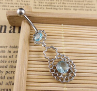 316L Surgical Steel Newest Rhinestone Bow Dangle Navel Belly Bar Button Ring Body Piercing Ring