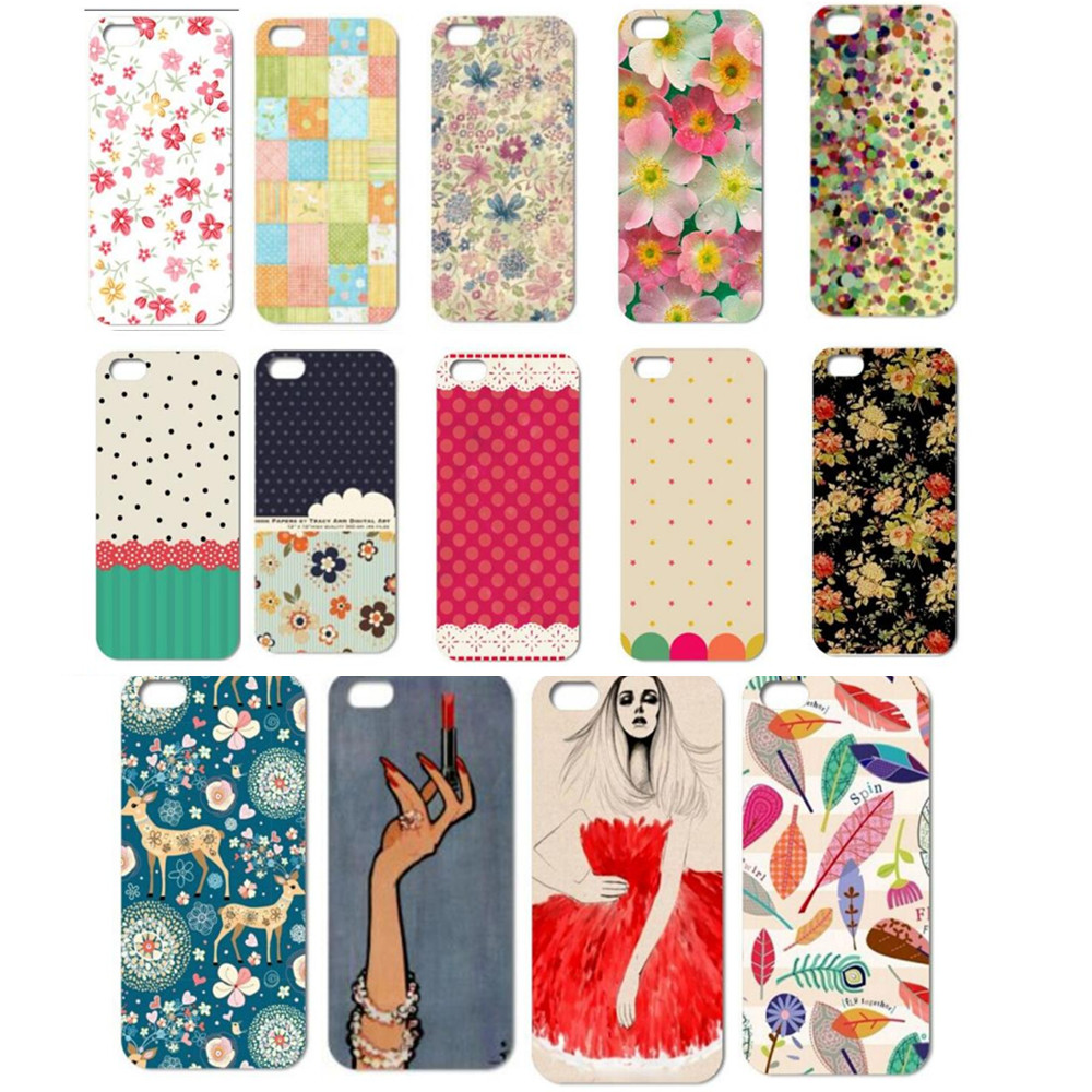 New 14 Colors phone Case Hard Cover for Apple iPhone 5 5G Painted Cases For iPhone5 5s Wholesale Floral Skirt Leaf Painted Case