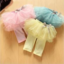 Юбка-леггинсы для маленьких девочек, детские газовые штаны, праздничные юбки розового, синего, желтого цвета, штаны-пачки ярких цветов с бантом для детей 0-24 месяцев