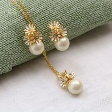 koperen groene steen emaille glazuur madeliefjes hanger korte ketting oorbellen sieraden set