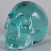 Череп, вырезанный вручную Драгоценная человеческая головная фигурка Giftware Зеленое Стекло искусственный камень резьба целебное Искусство Д