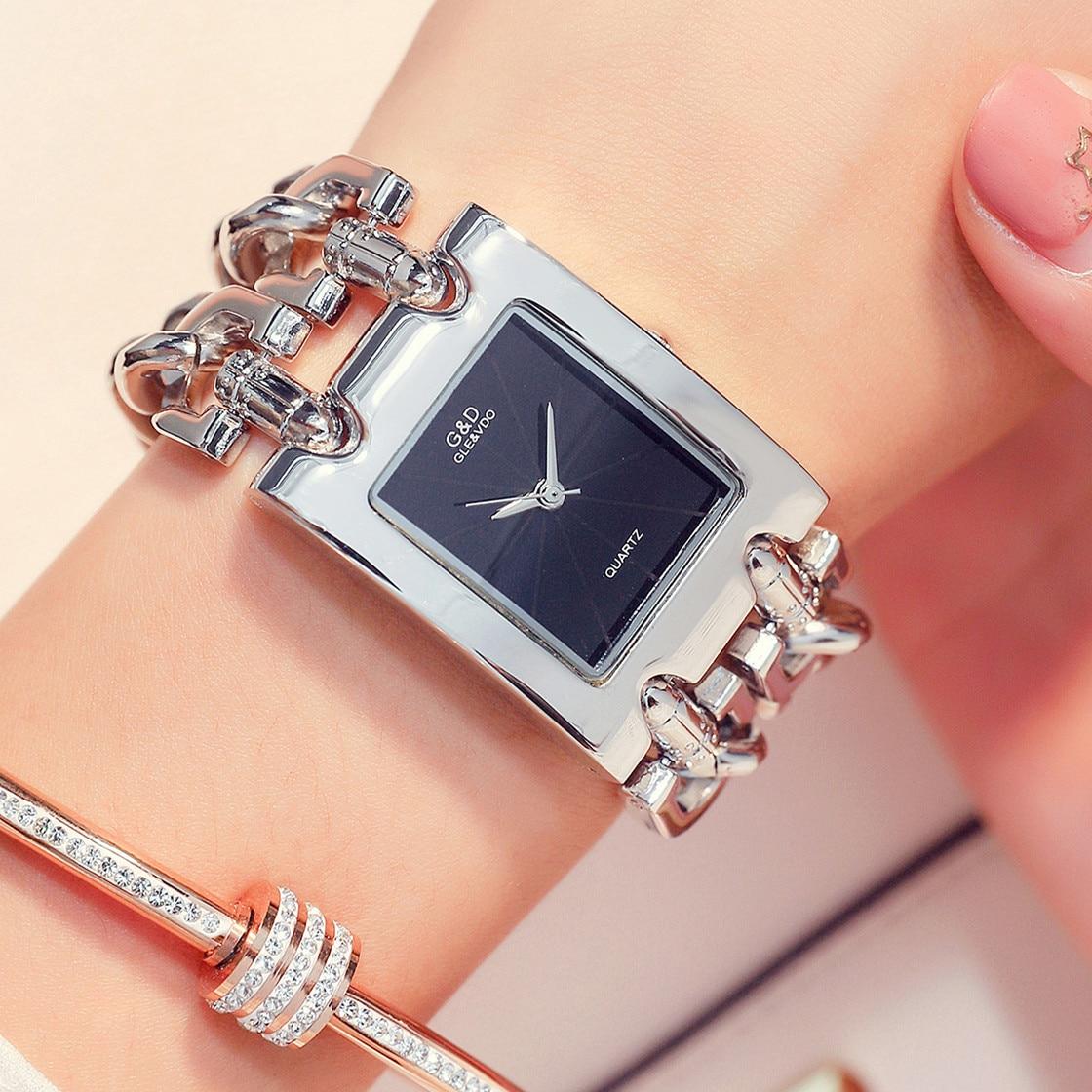 G&D Women Wrist Watches Silver Quartz Watches Relogio Feminino Reloj Mujer Ladies Watches Top Brand Luxury Clock Gift For Women