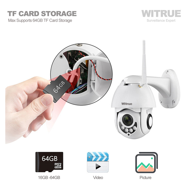 PTZ IP Camera 1080P WiFi Wireless Outdoor Waterproof Two Way Audio 64G TF Card Recording Mobile View Surveillance CCTV Camera 3