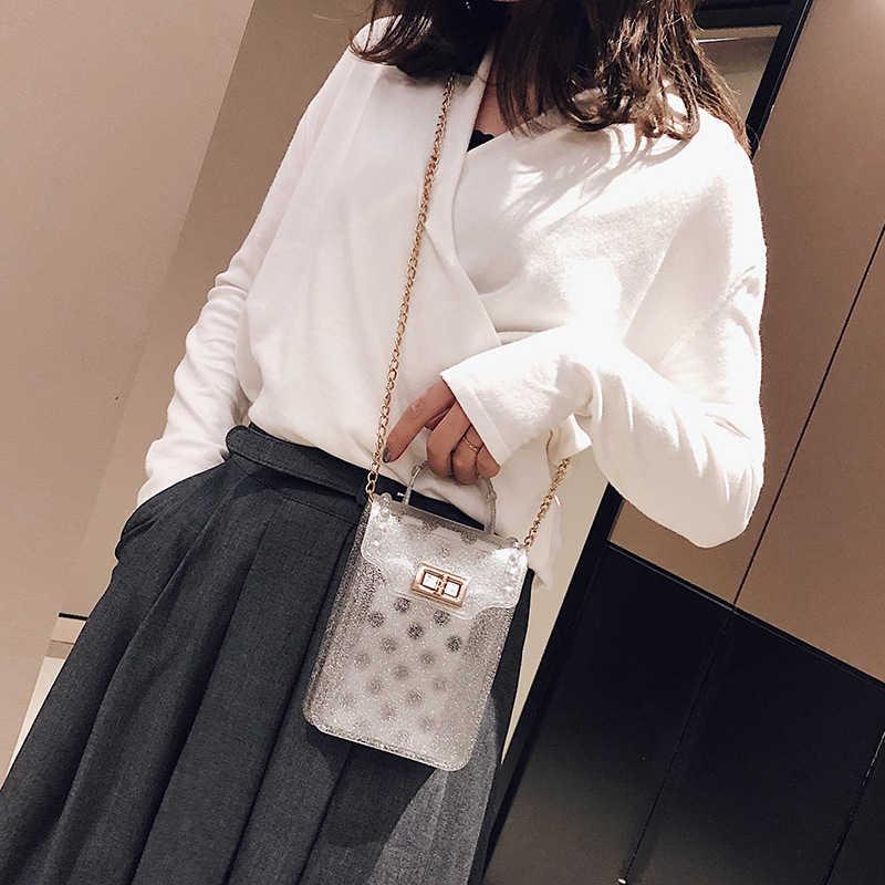 2019 Trendy New Women Jelly Sac Phone Bag Shoulder Bag Female Clear Mini Phone Messenger Bag Transparent Girls Crossbody Handbag