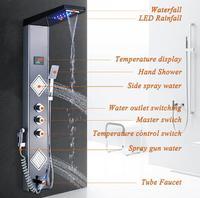 LED Nickel Black Faucet Mixer Valve Shower Set Waterfall Shower Head Rainfall Hand Shower Panel Bathroom