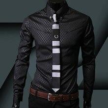 Fashion Men Argyle Luxury Business Style Slim Fit Long Sleeve Casual Dress Shirt
