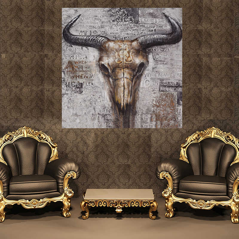 Abstract Cow Skull Wall Art HD Canvas Painting Home Decoration Bedroom Living Room Kids Room Painting Calligraphy