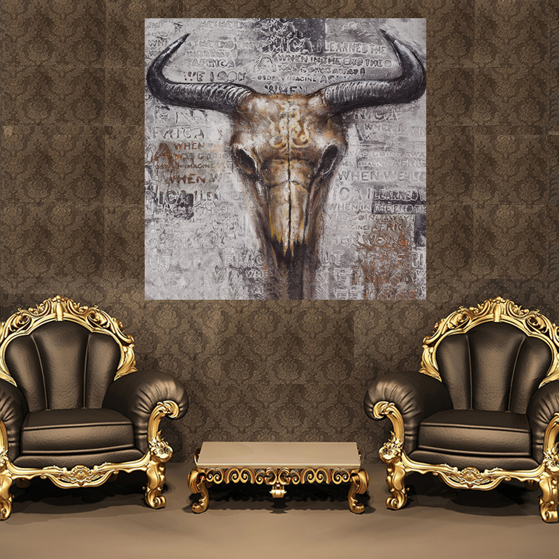 Us 4 39 Abstract Cow Skull Wall Art Hd Canvas Painting Home Decoration Bedroom Living Room Kids Room Painting Calligraphy In Painting Calligraphy