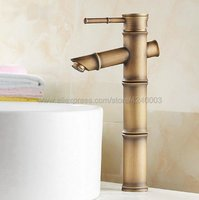Antique Brass Basin Faucet Bamboo Style Single Handle Lever Bathroom Vessel Sink Basin Faucet Mixer Water Taps Knf096