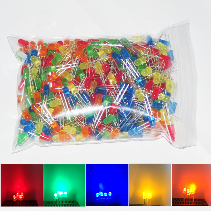 500pcs 5mm LED Lamp Diode Assorted Light Emitting Diodes Lampad DIY 5 mm LEDs Diodo Brilho RED Green Blue Yellow Orange Diffused