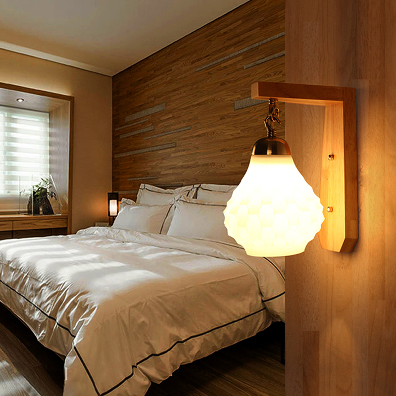 New Chinese Style Creative Corridor Wood Lamp Simple Living Room Balcony Aisle Bedroom LED Glass Wall Lamp Free Shipping modern fashion creative k9 crystal wifi design led 9w wall lamp for living room bedroom aisle corridor bathroom 80 265v 2063