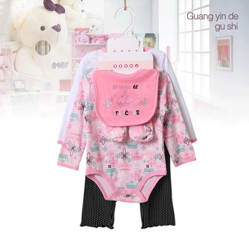 5pcs/set Pink Princess Baby Bodysuit 100% Cotton Toddler Jumpsuit Spring Baby Girl Clothes Sets Newborn Bebe Overall Clothes V40 summer cotton baby rompers boys infant toddler jumpsuit princess pink bow lace baby girl clothing newborn bebe overall clothes