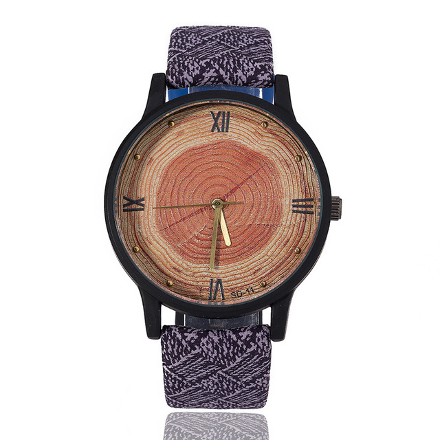 New Wood Women Watches Retro 2016 Casual FEIFAN Brand Vintage Leather Quartz Clock Woman Fashion Simple Face Wooden Watch Black