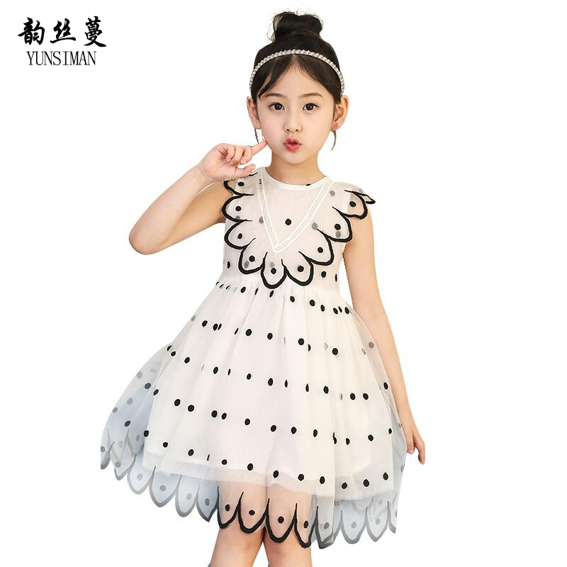 2018 New Brand Children Dress Girls Summer Dot Party Dresses Toddler Clothing Kids 7 10 12 Years Old Girls Dress For Baby 9C01