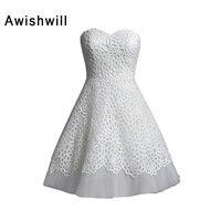 Индивидуальные Элегантный рукавов Короткие свадебное платье свадебные платья линии декольте Кружево и тюль маленькие белые Платья для жен