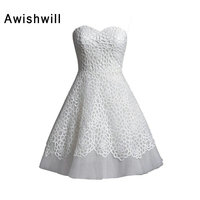 Customized Elegant Sleeveless Short Wedding Dress Bridal Gowns A Line Sweetheart Neckline Lace and Tulle Little White Dresses