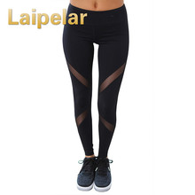 Laipelar Sexy Women Leggings Gothic Insert Mesh Design Trousers Pants Big Size Black Capris Sportswear New Fitness Leggings mesh insert leggings