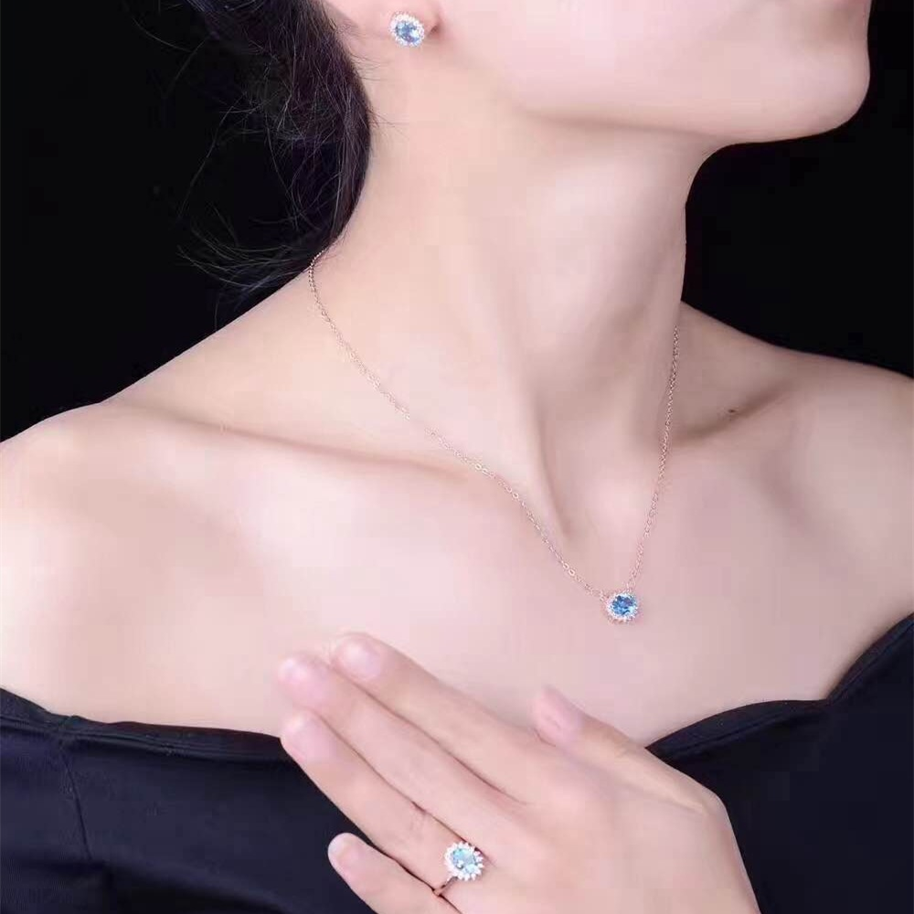 KJJEAXCMY boutique jewels 925 sterling silver inlaid with blue topaz ring + pendant + earrings necklace with silver gold color. - 5